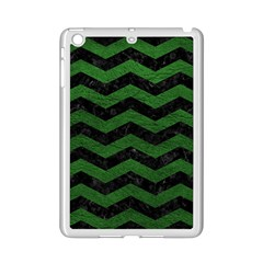 CHEVRON3 BLACK MARBLE & GREEN LEATHER iPad Mini 2 Enamel Coated Cases
