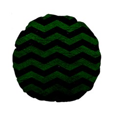 CHEVRON3 BLACK MARBLE & GREEN LEATHER Standard 15  Premium Round Cushions