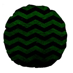 CHEVRON3 BLACK MARBLE & GREEN LEATHER Large 18  Premium Round Cushions