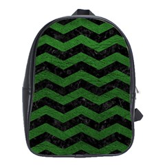 CHEVRON3 BLACK MARBLE & GREEN LEATHER School Bag (XL)