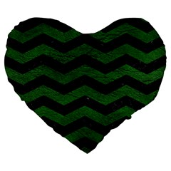 CHEVRON3 BLACK MARBLE & GREEN LEATHER Large 19  Premium Heart Shape Cushions
