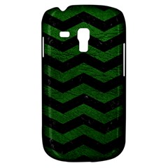 CHEVRON3 BLACK MARBLE & GREEN LEATHER Galaxy S3 Mini