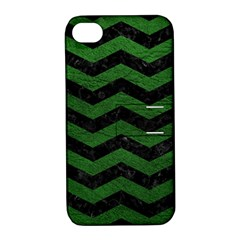 CHEVRON3 BLACK MARBLE & GREEN LEATHER Apple iPhone 4/4S Hardshell Case with Stand