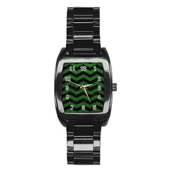 CHEVRON3 BLACK MARBLE & GREEN LEATHER Stainless Steel Barrel Watch