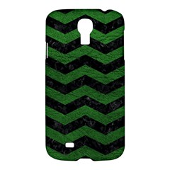 CHEVRON3 BLACK MARBLE & GREEN LEATHER Samsung Galaxy S4 I9500/I9505 Hardshell Case
