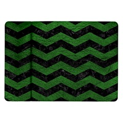 CHEVRON3 BLACK MARBLE & GREEN LEATHER Samsung Galaxy Tab 10.1  P7500 Flip Case