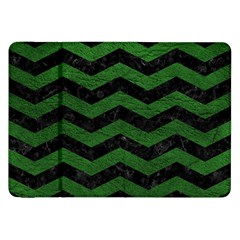 CHEVRON3 BLACK MARBLE & GREEN LEATHER Samsung Galaxy Tab 8.9  P7300 Flip Case