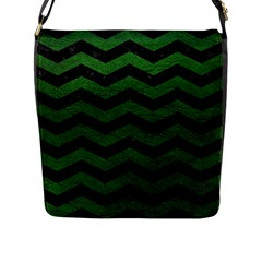 CHEVRON3 BLACK MARBLE & GREEN LEATHER Flap Messenger Bag (L)