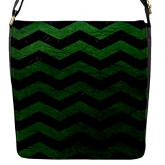 CHEVRON3 BLACK MARBLE & GREEN LEATHER Flap Messenger Bag (S)