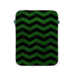 CHEVRON3 BLACK MARBLE & GREEN LEATHER Apple iPad 2/3/4 Protective Soft Cases