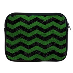 CHEVRON3 BLACK MARBLE & GREEN LEATHER Apple iPad 2/3/4 Zipper Cases