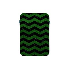 CHEVRON3 BLACK MARBLE & GREEN LEATHER Apple iPad Mini Protective Soft Cases