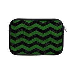 CHEVRON3 BLACK MARBLE & GREEN LEATHER Apple iPad Mini Zipper Cases
