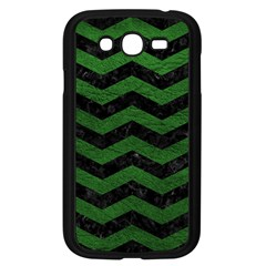 CHEVRON3 BLACK MARBLE & GREEN LEATHER Samsung Galaxy Grand DUOS I9082 Case (Black)