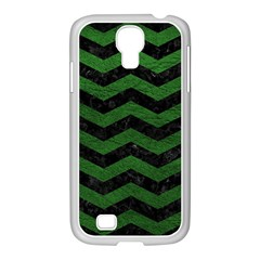 CHEVRON3 BLACK MARBLE & GREEN LEATHER Samsung GALAXY S4 I9500/ I9505 Case (White)