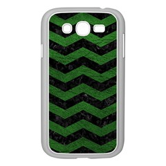 CHEVRON3 BLACK MARBLE & GREEN LEATHER Samsung Galaxy Grand DUOS I9082 Case (White)