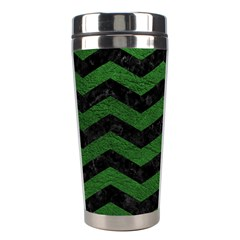 CHEVRON3 BLACK MARBLE & GREEN LEATHER Stainless Steel Travel Tumblers