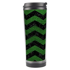 CHEVRON3 BLACK MARBLE & GREEN LEATHER Travel Tumbler