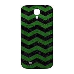 CHEVRON3 BLACK MARBLE & GREEN LEATHER Samsung Galaxy S4 I9500/I9505  Hardshell Back Case