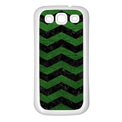 CHEVRON3 BLACK MARBLE & GREEN LEATHER Samsung Galaxy S3 Back Case (White)