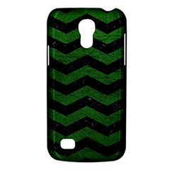 CHEVRON3 BLACK MARBLE & GREEN LEATHER Galaxy S4 Mini