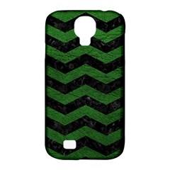 CHEVRON3 BLACK MARBLE & GREEN LEATHER Samsung Galaxy S4 Classic Hardshell Case (PC+Silicone)