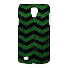 CHEVRON3 BLACK MARBLE & GREEN LEATHER Galaxy S4 Active