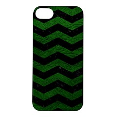 CHEVRON3 BLACK MARBLE & GREEN LEATHER Apple iPhone 5S/ SE Hardshell Case