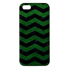 CHEVRON3 BLACK MARBLE & GREEN LEATHER iPhone 5S/ SE Premium Hardshell Case