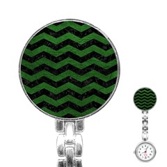 CHEVRON3 BLACK MARBLE & GREEN LEATHER Stainless Steel Nurses Watch