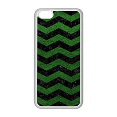 CHEVRON3 BLACK MARBLE & GREEN LEATHER Apple iPhone 5C Seamless Case (White)