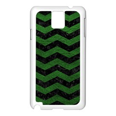 CHEVRON3 BLACK MARBLE & GREEN LEATHER Samsung Galaxy Note 3 N9005 Case (White)