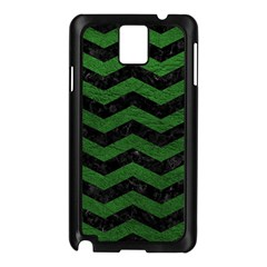 CHEVRON3 BLACK MARBLE & GREEN LEATHER Samsung Galaxy Note 3 N9005 Case (Black)