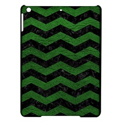 CHEVRON3 BLACK MARBLE & GREEN LEATHER iPad Air Hardshell Cases