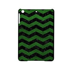 CHEVRON3 BLACK MARBLE & GREEN LEATHER iPad Mini 2 Hardshell Cases