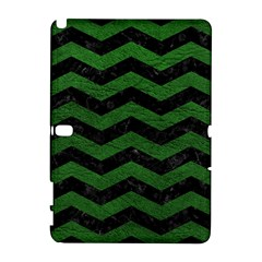 CHEVRON3 BLACK MARBLE & GREEN LEATHER Galaxy Note 1