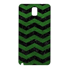 CHEVRON3 BLACK MARBLE & GREEN LEATHER Samsung Galaxy Note 3 N9005 Hardshell Back Case