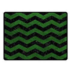 CHEVRON3 BLACK MARBLE & GREEN LEATHER Double Sided Fleece Blanket (Small)