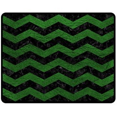 CHEVRON3 BLACK MARBLE & GREEN LEATHER Double Sided Fleece Blanket (Medium)