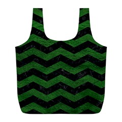 CHEVRON3 BLACK MARBLE & GREEN LEATHER Full Print Recycle Bags (L)