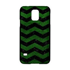 CHEVRON3 BLACK MARBLE & GREEN LEATHER Samsung Galaxy S5 Hardshell Case