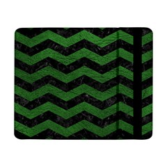 CHEVRON3 BLACK MARBLE & GREEN LEATHER Samsung Galaxy Tab Pro 8.4  Flip Case