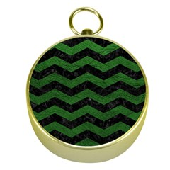 CHEVRON3 BLACK MARBLE & GREEN LEATHER Gold Compasses
