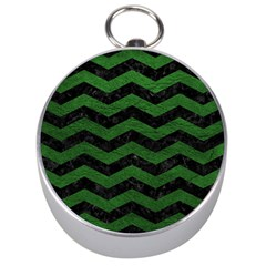 CHEVRON3 BLACK MARBLE & GREEN LEATHER Silver Compasses