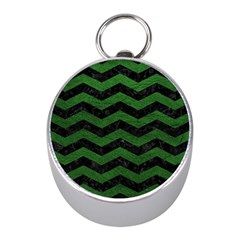 CHEVRON3 BLACK MARBLE & GREEN LEATHER Mini Silver Compasses
