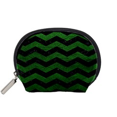CHEVRON3 BLACK MARBLE & GREEN LEATHER Accessory Pouches (Small)