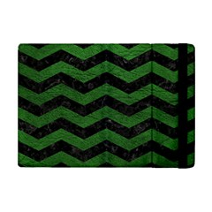 CHEVRON3 BLACK MARBLE & GREEN LEATHER iPad Mini 2 Flip Cases