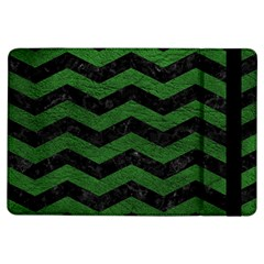 CHEVRON3 BLACK MARBLE & GREEN LEATHER iPad Air Flip