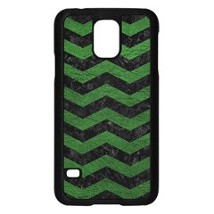 CHEVRON3 BLACK MARBLE & GREEN LEATHER Samsung Galaxy S5 Case (Black)
