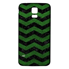 CHEVRON3 BLACK MARBLE & GREEN LEATHER Samsung Galaxy S5 Back Case (White)